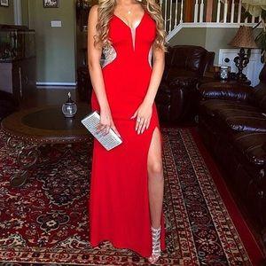 Red Jeweled Open Legged Long Prom Dress